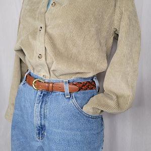 Coach Serpentine Vintage Braided Men's Belt Brown